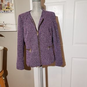DONNA KARAN tweed zip up jacket